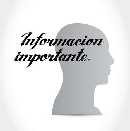 belangrijke informatie denken hersenen Spaanse teken illustratie grafisch