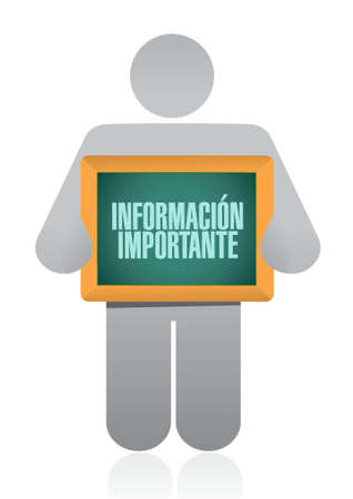 pay attention: important information holding Spanish sign illustration design graphic Illustration