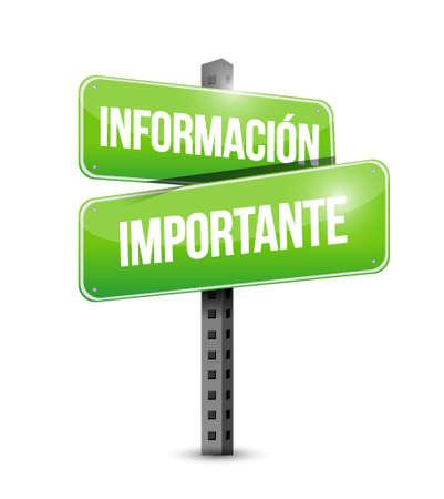 belangrijke informatie straat Spaanse teken illustratie grafisch Stock Illustratie