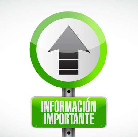 important information: important information road Spanish sign illustration design graphic