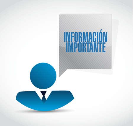 important information: important information businessman sign in Spanish illustration design graphic Illustration