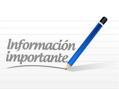 belangrijke informatie bericht Spaanse teken illustratie grafisch