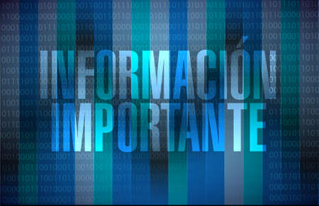 primary colors: important information binary background sign in Spanish illustration design graphic