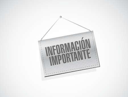 important sign: important information banner Spanish sign illustration design graphic