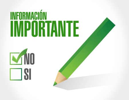 important information: no important information approval Spanish sign illustration design graphic Illustration