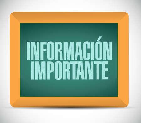 belangrijke informatie bord teken in het Spaans illustratie grafisch