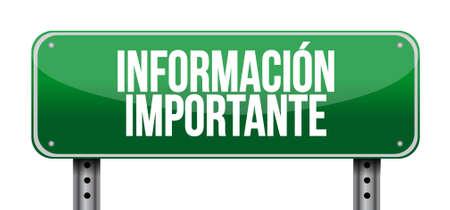 belangrijke informatie weg Spaanse teken illustratie grafisch