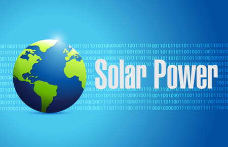 solar roof: solar panel binary globe sign concept illustration design graphic