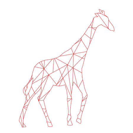 red abstract lines giraffe. Animal isolated illustration