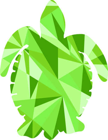 large turtle: green turtle silhouette. animal with abstract design background Illustration