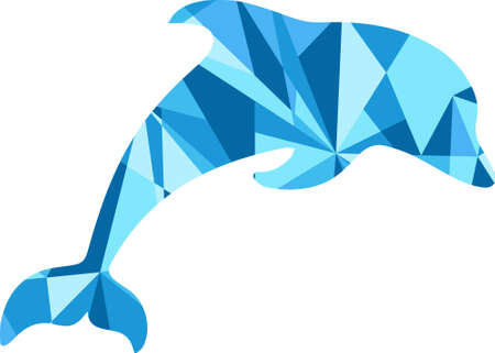 geometric shapes: blue dolphin silhouette. animal with abstract design background Illustration