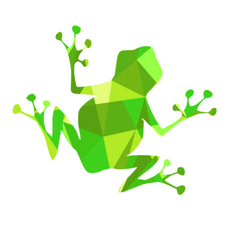 green shapes abstract frog. Animal isolated illustration