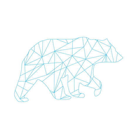 blue abstract lines bear. Animal isolated illustration