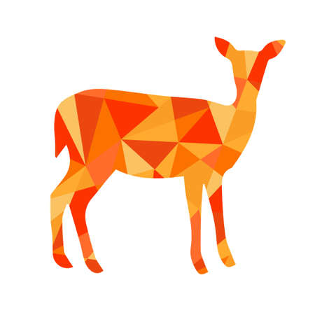 abstract animal: orange shapes abstract deer. Animal isolated illustration