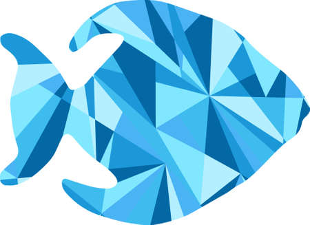 fish animal: blue fish silhouette. animal with abstract design background