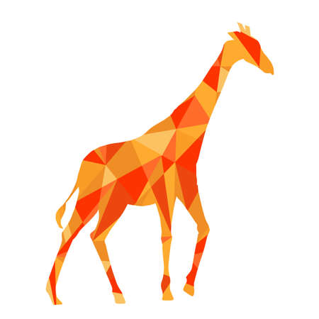 polygons: orange shapes abstract giraffe. Animal isolated illustration
