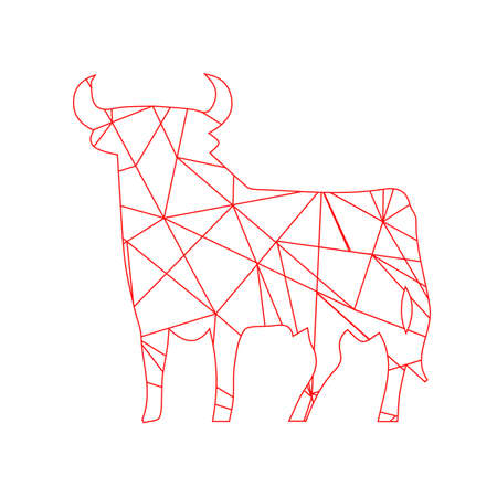 red animal: red abstract lines bull. Animal isolated illustration