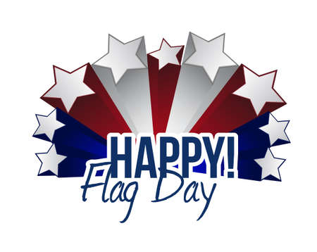 happy flag day us stars illustration design graphic