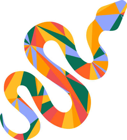 unique: snake and abstract shapes illustration design graphic