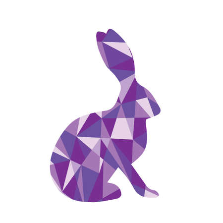 triangles: purple shapes abstract bunny. Animal isolated illustration Illustration