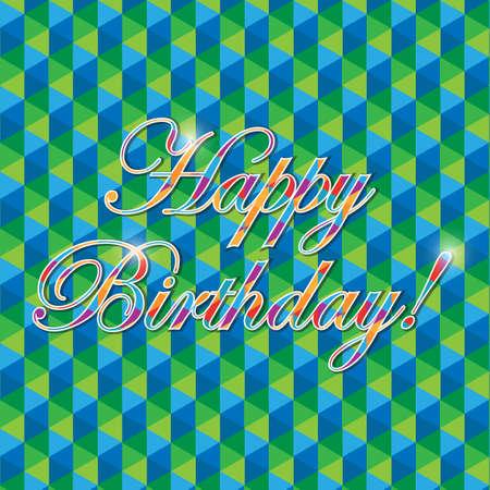 Gelukkige verjaardag geometrische vormen groene teken illustratie grafische achtergrond