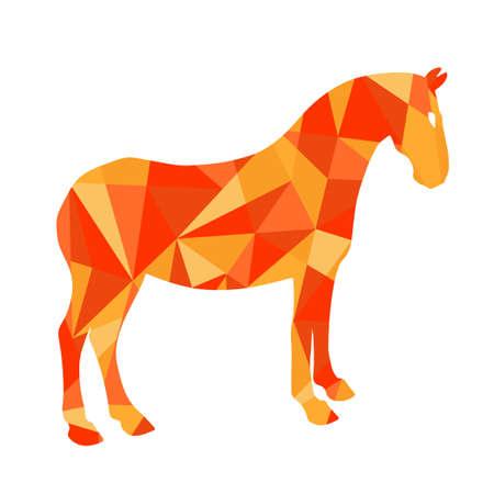 formes rouges de cheval abstraite. Animal illustration isolé