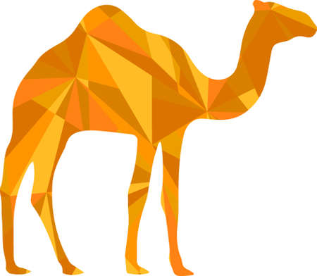 camel hump: orange camel silhouette. animal with abstract design background
