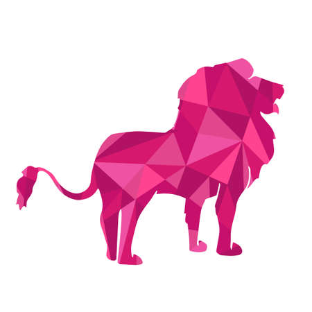 abstract animal: pink shapes abstract lion. Animal isolated illustration