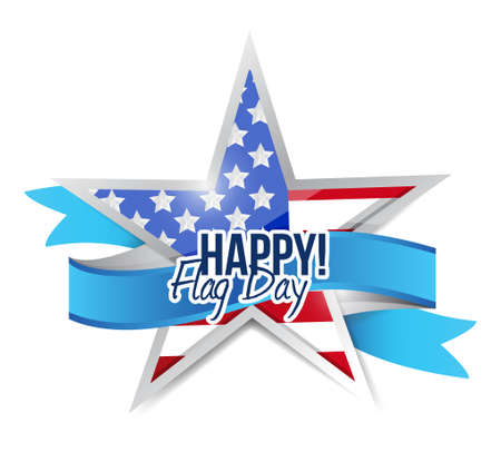 happy flag day us star and ribbon illustration design graphic