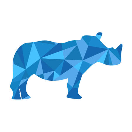 blue shapes abstract rhino. Animal isolated illustration