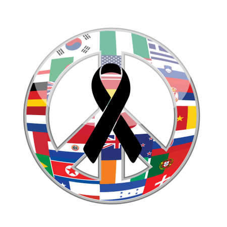 strong message: black ribbon over a peace flag symbol. illustration design graphic