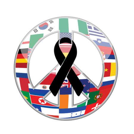 black ribbon over a peace flag symbol. illustration design graphic