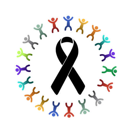 black ribbon and diversity people around. illustration design graphic Imagens - 58471676