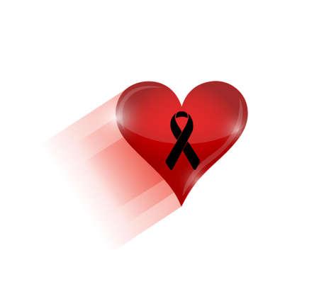black ribbon over a heart. illustration design graphic