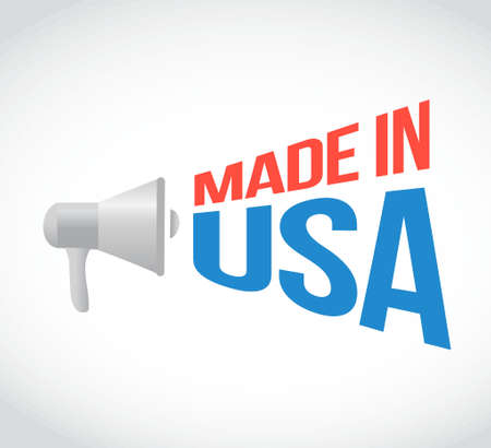 using voice: made in usa megaphone message. illustration design graphic