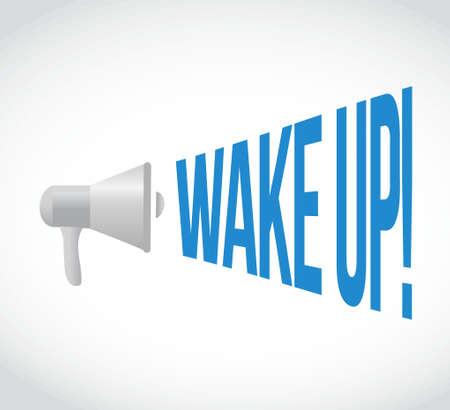despertarse: despertar megáfono mensaje. Ilustración de diseño gráfico