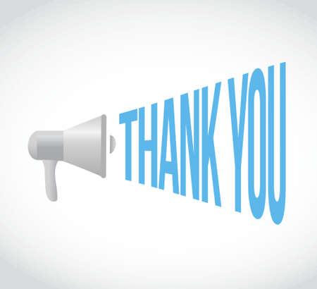 heard: thank you megaphone message. illustration design graphic