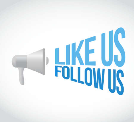 like us follow us megaphone message. illustration design graphic