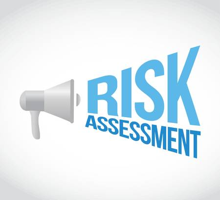 using voice: risk assessment megaphone message. illustration design graphic Illustration