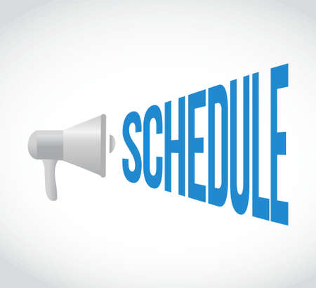 using voice: schedule megaphone message. illustration design graphic over white