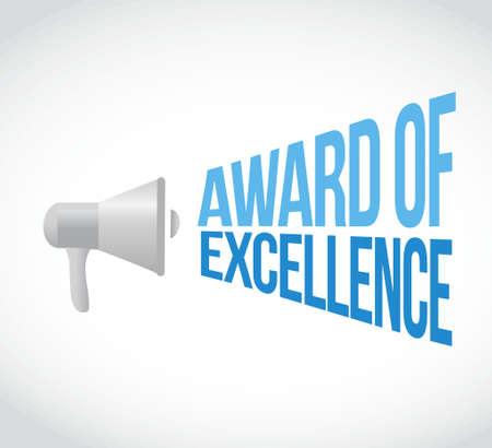 reconocimientos: adjudicación del mensaje de la excelencia megáfono. Ilustración de diseño gráfico Vectores