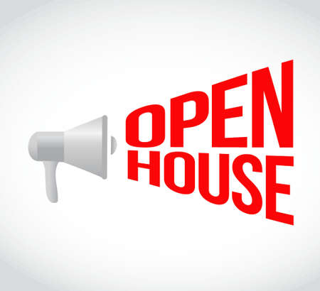 open house: open house megaphone message. illustration design graphic