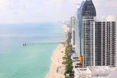 Sunny Isles Beach Miami. Ocean front residences. aerial landscape panoramic vew