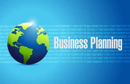 binary globe: business planning binary globe sign concept illustration graphic design