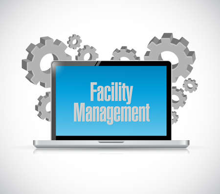 manager: facility management laptop computer sign illustration design graphic Illustration
