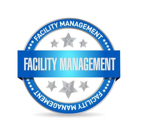 gestion empresarial: la gestión de instalaciones signo ilustración del sello de diseño gráfico