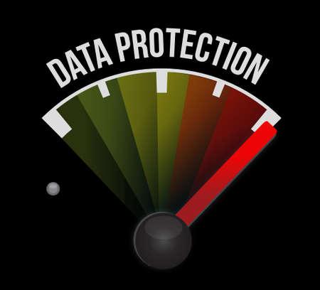 Protección de Datos signo medidor de gráfico, ilustración, diseño