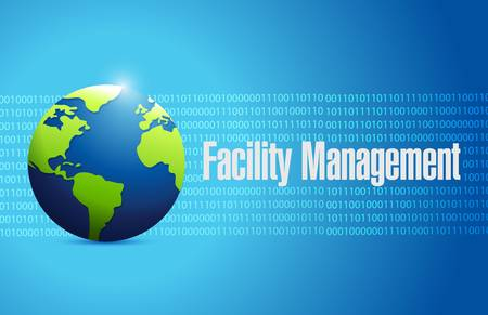 binary globe: facility management binary globe sign illustration design graphic