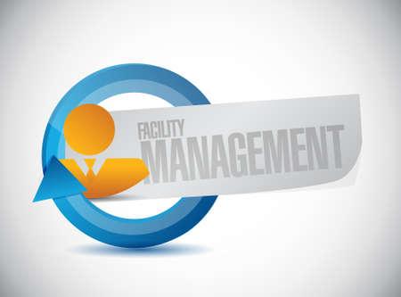 the facility: facility management businessman sign illustration design graphic Illustration