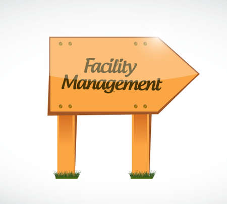facility management wood sign illustration design graphic Illustration